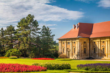 View of Lednice castle with a beautiful garden at sunny day, Czech Republic, Europe.