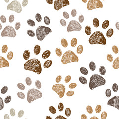Seamless brown colored paw print background