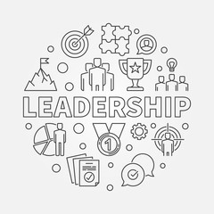 Leadership vector circular concept simple illustration in outline style