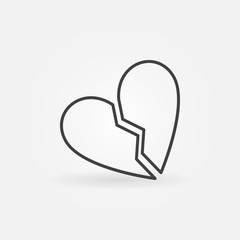 Broken Heart vector concept icon or design element in thin line style