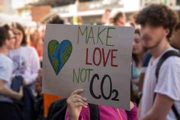 Poster during a strike for the planet, make love not CO2