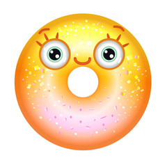 Yellow shiny donut with eyes smiling. Emoji donut in gradient.