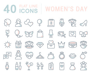 Set Vector Line Icons of Women's Day.