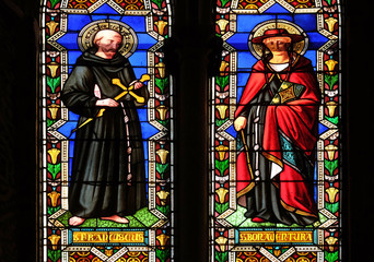 Foto op Aluminium Imagination Saints Francis of Assisi and Bonaventura, stained glass window in the Basilica di Santa Croce (Basilica of the Holy Cross) in Florence, Italy