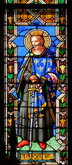 Saint Ludovicus, stained glass window in the Basilica di Santa Croce (Basilica of the Holy Cross) in Florence, Italy