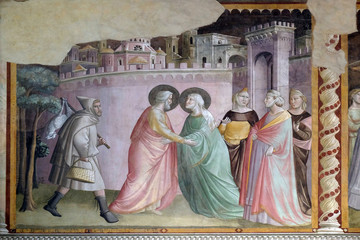 Meeting at the Golden Gate, fresco by Taddeo Gaddi, Bandini Baroncelli Chapel in the Basilica di Santa Croce in Florence Wall mural