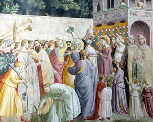 Marriage of the Virgin, fresco by Taddeo Gaddi, Bandini Baroncelli Chapel in the Basilica di Santa Croce in Florence, Italy