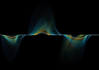 Abstract Sound Wave Background - Colorful Frequency Graph on Black Background, Vector Illustration