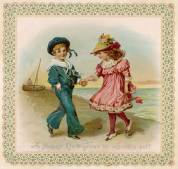 Children Seaside Card
