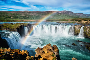 Printed roller blinds Waterfalls The Godafoss (Icelandic: waterfall of the gods) is a famous waterfall in Iceland. The breathtaking landscape of Godafoss waterfall attracts tourist to visit the Northeastern Region of Iceland.