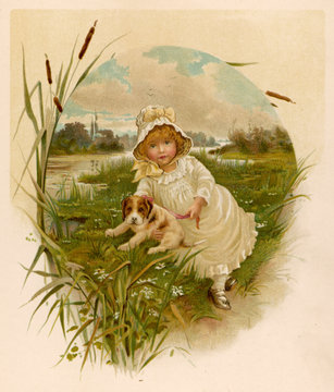 Girl and Puppy 1889