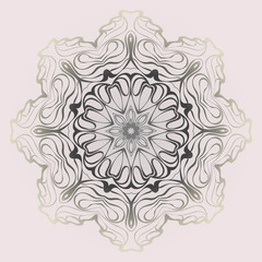 Design Mandala Ornament. Vector Illustration. Round Geometric Floral Pattern. Oriental Pattern. Indian, Moroccan, Mystic, Ottoman Motifs. Anti-Stress Therapy Pattern. Pastel color