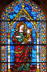 Madonna and Child, stained glass window in Santa Maria Novella Principal Dominican church in Florence, Italy
