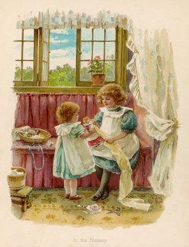 Sisters in Nursery C1890