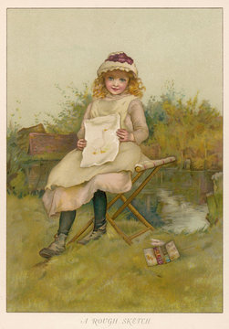 Girl with Drawing C1890