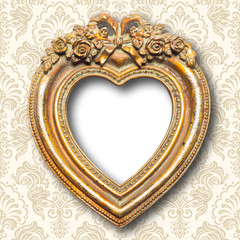 Old Gold Heart Shape Picture Frame
