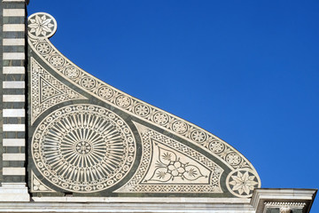 Detail from facade of Santa Maria Novella Dominican church in Florence, Italy Wall mural