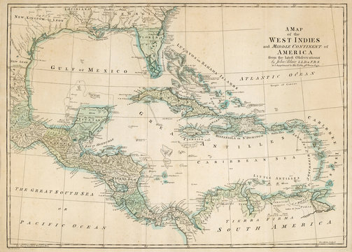 Map of the Caribbean West Indies Southern Usa