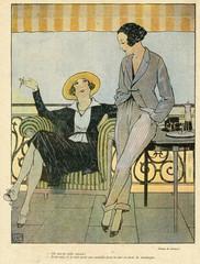 Cartoon, Two Fashionable French Women
