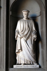 Cosimo Pater Patriae, statue in the Niches of the Uffizi Colonnade. The first half of the 19th Century they were occupied by 28 statues of famous people in Florence, Italy