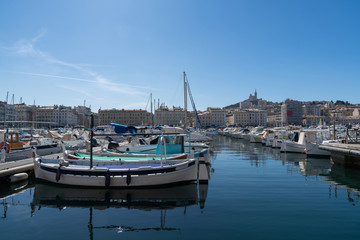 The Old Port Vieux Port Of Marseille With Basilique Notre-Dame De La Garde
