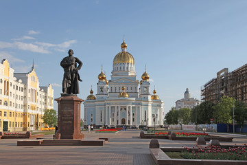 The Cathedral of St. Theodore Ushakov with monument