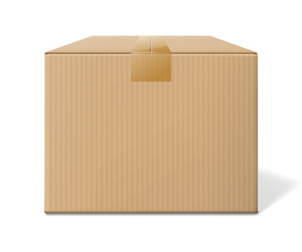 Realistic cardboard box, closed side view