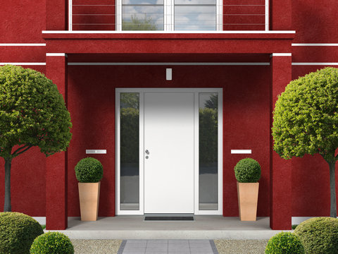 classic style maroon house facade with entrance portal, balcony, pillars and front door - 3D rendering