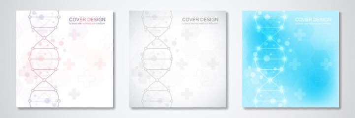 Square template for cover or brochure, with molecules background and DNA strand. Medical or scientific and technological concept.