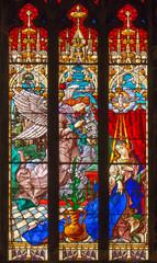 Fototapete - PALMA DE MALLORCA, SPAIN - JANUARY 29, 2019: The Annunciation in the stainedglass of the church Esglesia de la Inmaculada Concepcion.
