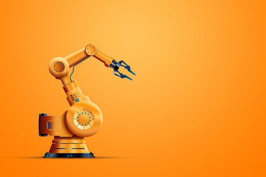 Robotization, industrial robot manipulator, orange on an orange background. The concept of a shortage of jobs, robots against people, the reduction of man, the industrial revolution.