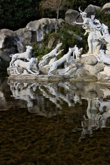 Reggia di Caserta, Italy. 10/27/2018. Monumental fountain with sculptures in white marble