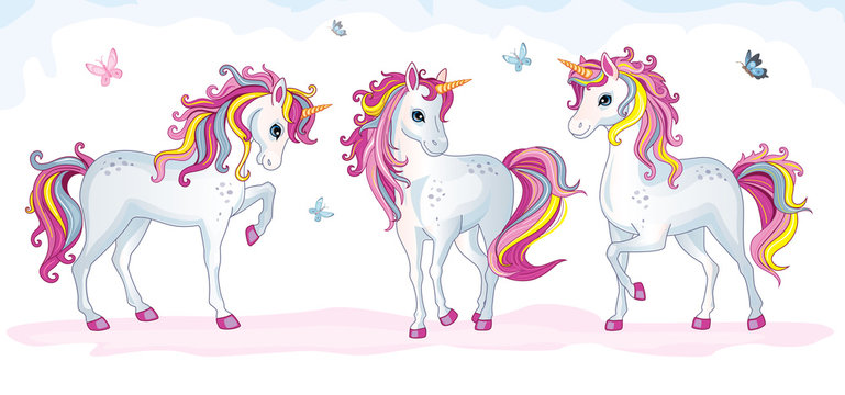 A group of beautiful white unicorns in the clouds. Vector cartoon illustration.