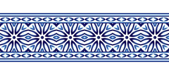 Ceramic tile border pattern. Islamic, indian, arabic motifs. Damask border seamless pattern. Porcelain ethnic bohemian background.