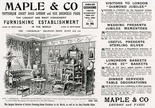Advertisement for MAple Co DrAwing Room Suite 1897