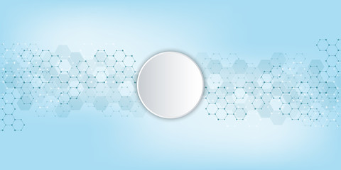 Abstract background of science and innovation technology. Technical background with hexagons pattern and molecular structures.