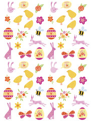 Cute Easter Vector Doodle Icon Set