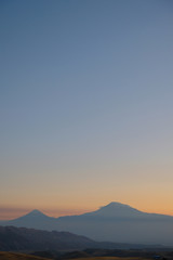 evening clear sky without clouds over Ararat, the sacred mountain of Armenia.