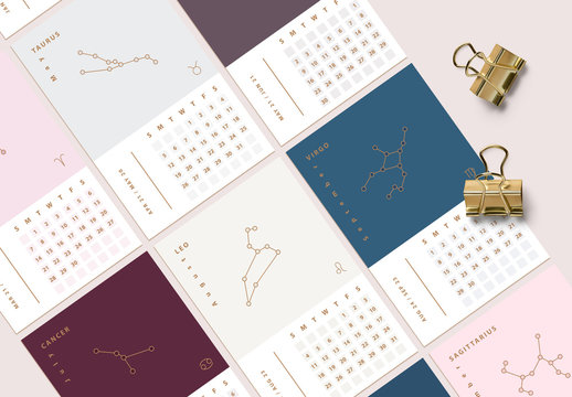 12 Astrology Calendar Layouts with Constellation Illustrations