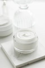 Luxury skincare cosmetics in a bathroom