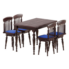 Brown wooden table with four chairs on a white background 3d