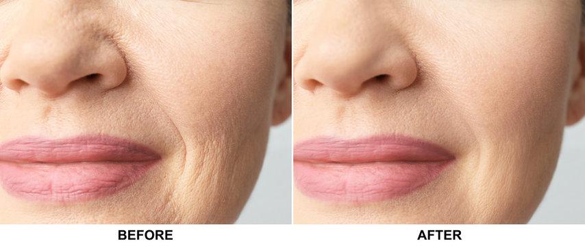 Beautiful older woman, closeup of lips