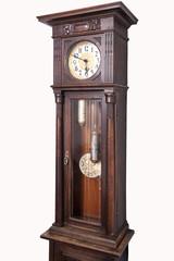Old vintage wooden granfather clock