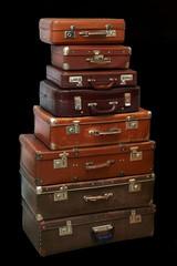 Stack of old vintage soviet suitcases