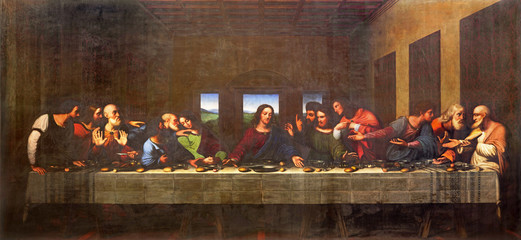 Wall Mural - TURIN, ITALY - MARCH 13, 2017: The painting of Last Supper in Duomo after Leonardo da Vinci by Vercellese Luigi Cagna (1836).