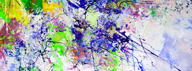 Multicolored abstraction of splashes of acrylic paints. On a white background.
