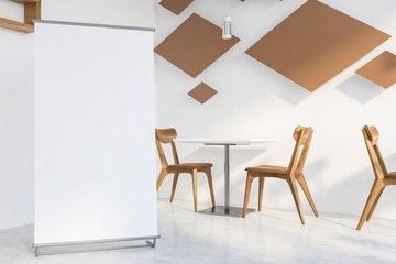 White restaurant interior with wooden tables, chairs. 3d render. Mock up.