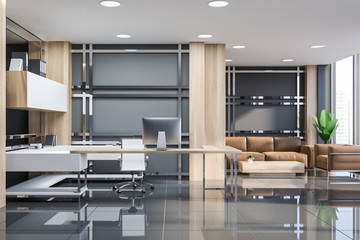 Gray manager office interior with lounge