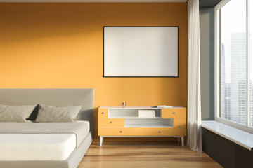Yellow and gray bedroom interior with poster