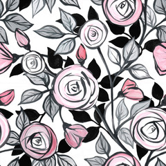 Floral seamless pattern with roses. Handmade acrylic. Design of wallpaper, fabric.